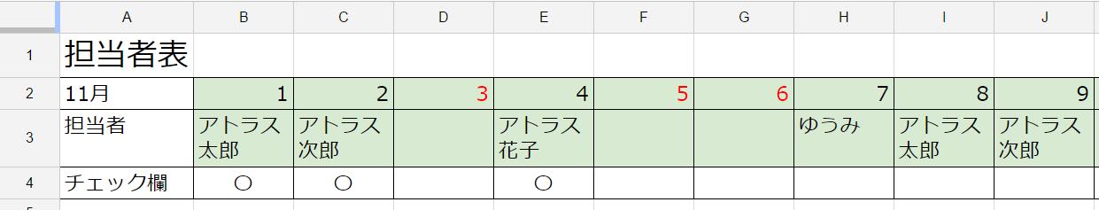 日次作業担当者管理表