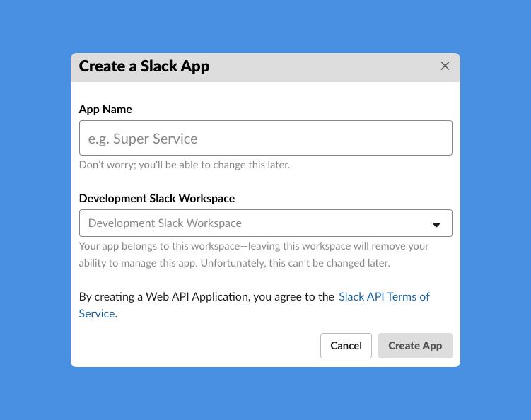 Slack Appの新規作成画面